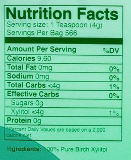 morning pep xylitol nutrition facts