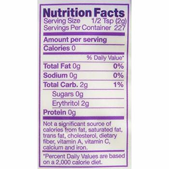 pyure organic stevia nutrition facts