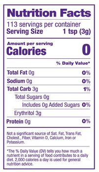 swerve sweetener confectioners nutrition facts