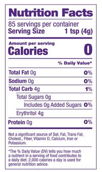swerve sweetener granular nutrition facts