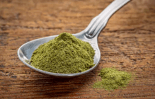 a teaspoon of raw wheat grass juice powder